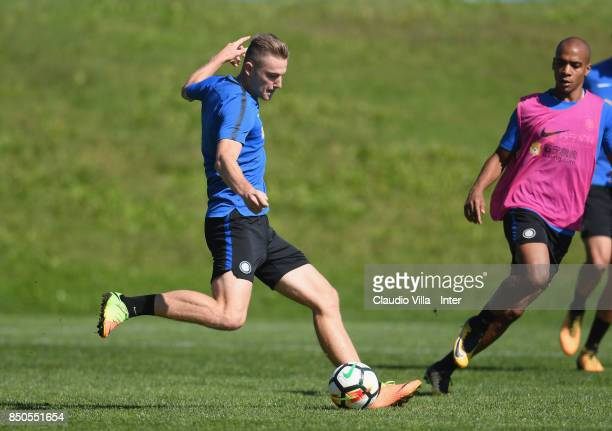 Milan Skriniar of FC Internazionale in action during a training session at Suning Training Center at Appiano Gentile on September 21 2017 in Como...