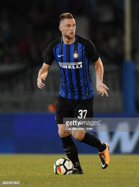 Milan Skriniar of FC Internazionale in action during the PreSeason Friendly match between FC Internazionale and Villareal CF at Stadio Riviera delle...