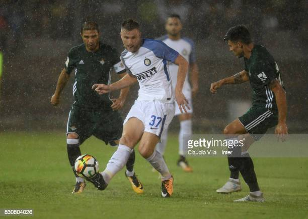 Milan Skriniar of FC Internazionale in action during the PreSeason Friendly match between FC Internazionale and Real Betis at Stadio Via del Mare on...