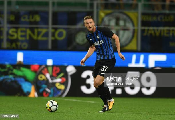 Milan Skriniar of FC Internazionale in action during the Serie A match between FC Internazionale and ACF Fiorentina at Stadio Giuseppe Meazza on...