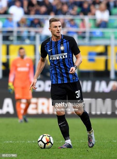 Milan Skriniar of FC Internazionale in action during the Serie A match between FC Internazionale and Genoa CFC at Stadio Giuseppe Meazza on September...