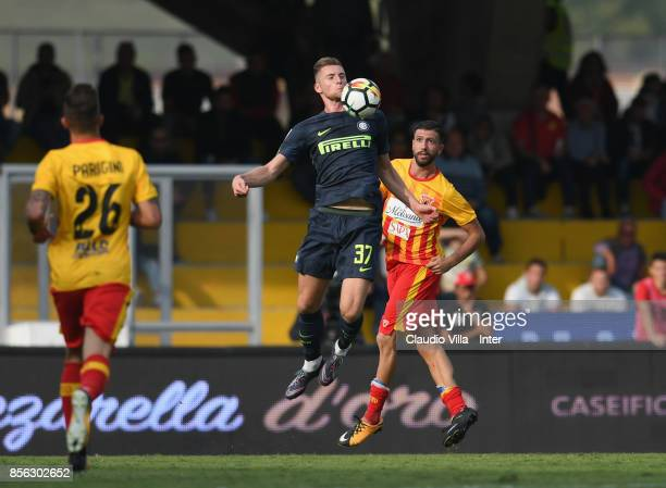 Milan Skriniar of FC Internazionale in action during the Serie A match between Benevento Calcio and FC Internazionale at Stadio Ciro Vigorito on...