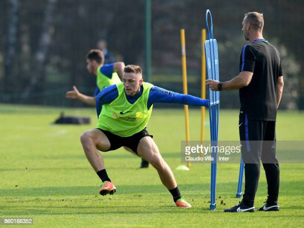 Milan Skriniar of FC Internazionale in action during the training session at Suning Training Center at Appiano Gentile on October 11 2017 in Como...