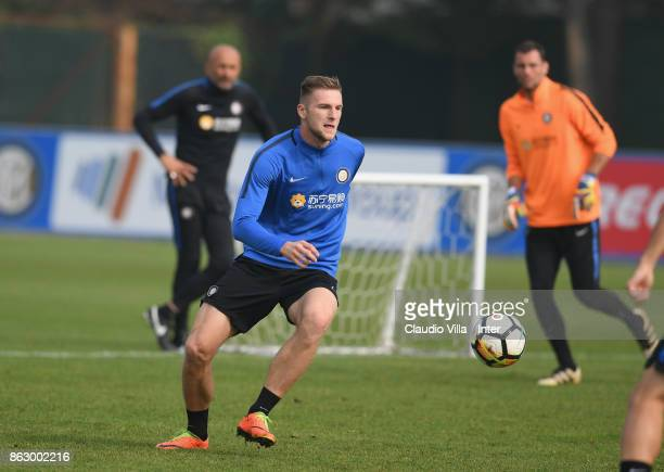 Milan Skriniar of FC Internazionale in action during the training session at Suning Training Center at Appiano Gentile on October 19 2017 in Como...