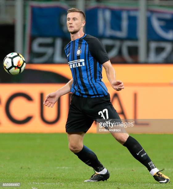 Milan Skriniar of FC Internazionale Milano in action during the Serie A match between FC Internazionale and ACF Fiorentina at Stadio Giuseppe Meazza...