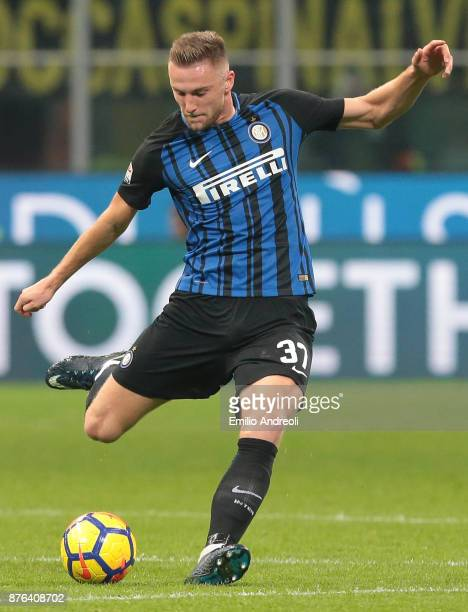 Milan Skriniar of FC Internazionale Milano in action during the Serie A match between FC Internazionale and Atalanta BC at Stadio Giuseppe Meazza on...