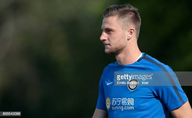 Milan Skriniar of FC Internazionale Milano looks on during the FC Internazionale training session at the club's training ground Suning Training...