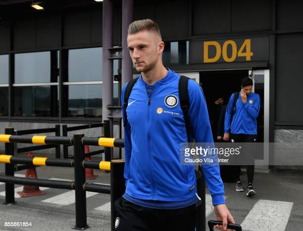Milan Skriniar of FC Internazionale travels to Benevento ahead of the Serie A match on September 30 2017 in Benevento Italy