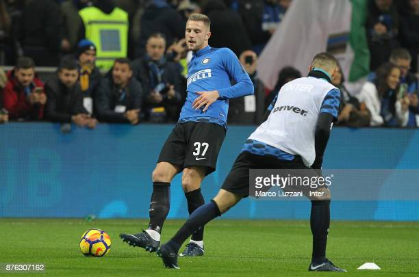 Milan Skriniar of FC Internazionale warms up ahead of the Serie A match between FC Internazionale and Atalanta BC at Stadio Giuseppe Meazza on...