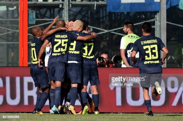 Milan Skriniar of Internazionale celebrates after scoring the opening goal during the Serie A match between FC Crotone and FC Internazionale at...
