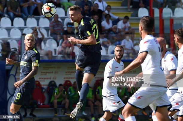 Milan Skriniar of INternazionale jumps foe a header during the Serie A match between FC Crotone and FC Internazionale at Stadio Comunale Ezio Scida...