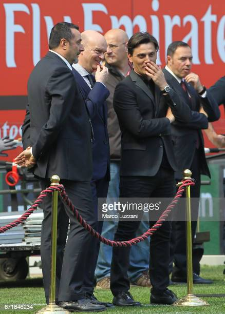 AC Milan Sporting Director Massimo Mirabelli AC Milan CEO Marco Fassone and AC Milan coach Vincenzo Montella look on before the Serie A match between...