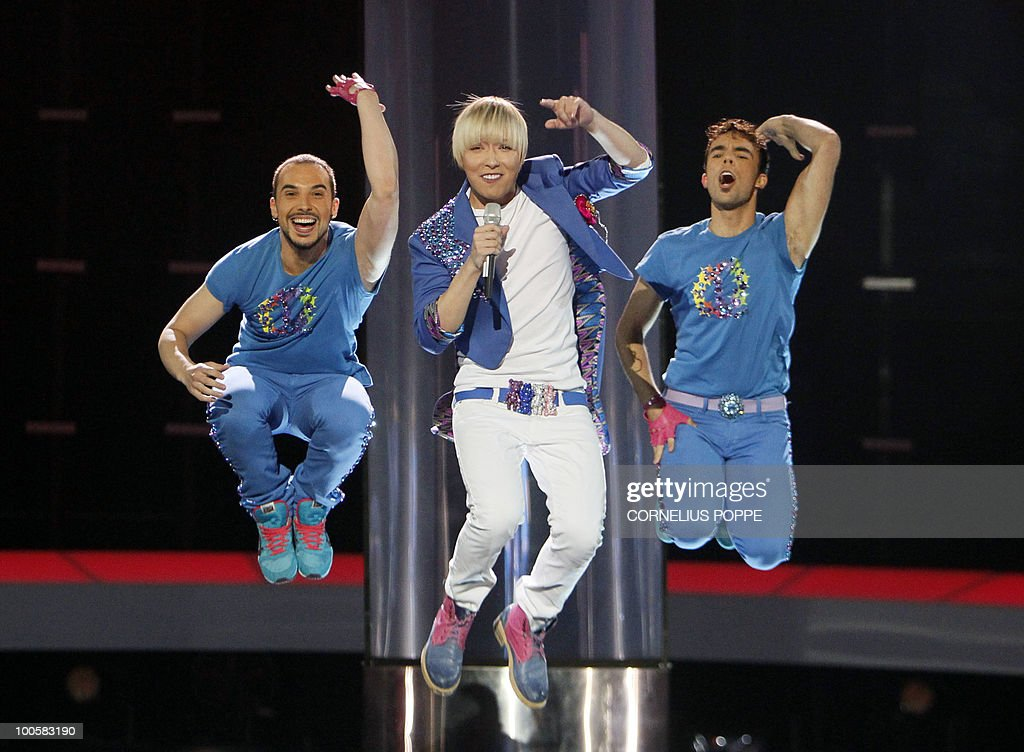 Milan Stankovic from Serbia performs the song 'Ovo Je Balkan' during the semi-finals of the Eurovision Song Contest in Telenor Arena in Baerum, Norway, on May 25, 2010. The 55th Eurovision Song Contest finale will take place on May 29 in the Telenor Arena in Oslo, after Norwegian Alexander Rydbak took the top prize in Moscow last year with his song 'Fairytale'. AFP PHOTO/SCANPIX/Cornelius Poppe ==NORWAY