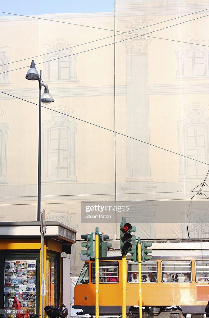 Milan street scene with a tram : Stock Photo