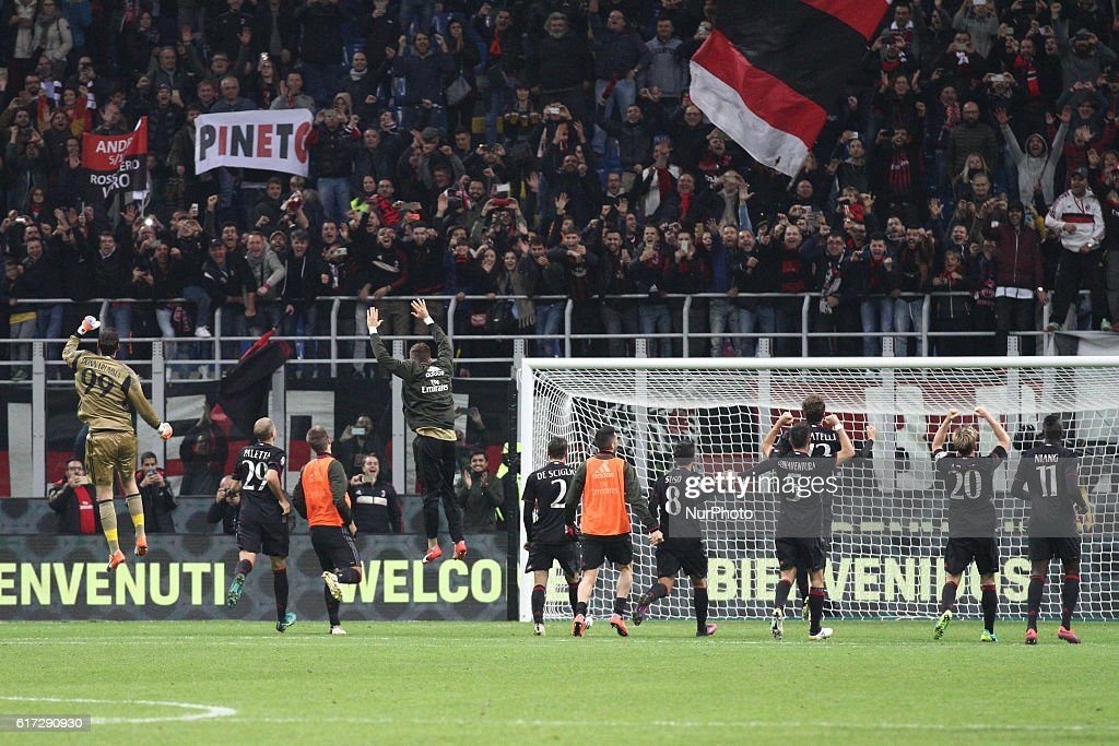 Milan Team celebrates victory after the Serie A football match n.9 MILAN - JUVENTUS on at the Stadio Giuseppe Meazza in Milan, Italy.