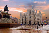 The Duomo in Milan is a unique Catholic Church built of white marble in the flamboyant Gothic style.