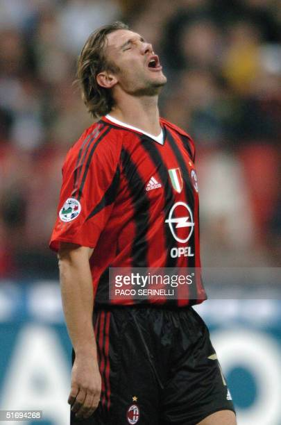 Milan Ukrainian Andriy Shevchenko reacts in an Italian serie A match against AS Roma at San Siro stadium in Milan 07 Novembre 2004 The match ended...