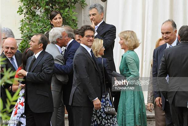 AC Milan vice president Adriano Galliani and England football managerFabio Capello attend the wedding of Flavio Briatore and Elisabetta Gregoraci at...