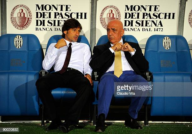 Milan vice president Adriano Galliani and head coach Leonardo during the Serie A match between Siena and Milan at Artemio Franchi Montepaschi Arena...