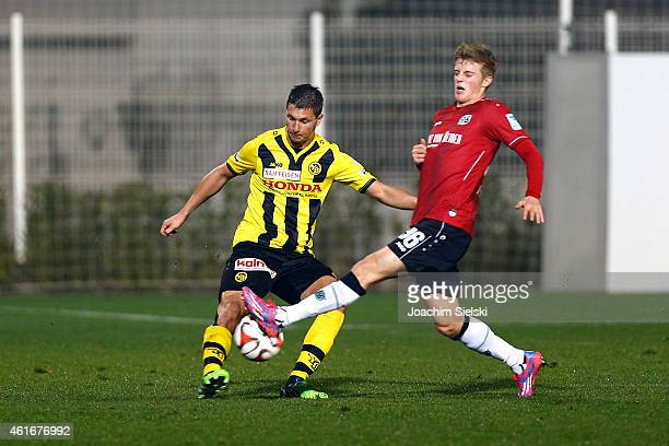 Milan Vilotic and Sebastian Ernst during a friendly match between Young Boys Bern and Hannover 96 on January 17 2015 in Belek Turkey