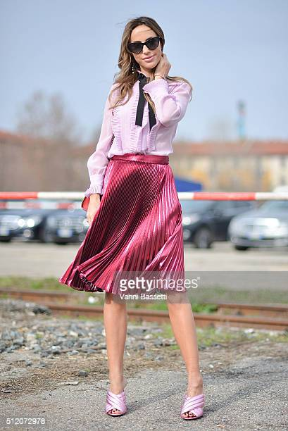 Milana Koroleva poses wearing Gucci before the Gucci show during the Milan Fashion Week Fall/Winter 2016/17 on February 24 2016 in Milan Italy