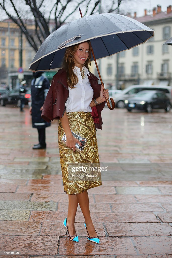 Milana Koroleva wears Gucci Jacket, Burberry skirt, Dior shoes on day 1 of Milan Fashion Week Womenswear Autumn/Winter 2014 on February 19, 2014 in Milan, Italy.