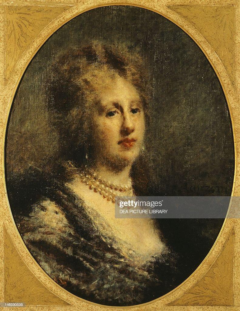 Milano, Civiche Raccolte D'Arte Museo Dell'Ottocento Villa Belgiojoso Bonaparte Portrait of Baroness Francfort, 1870-1880, by Daniele Ranzoni (1843-1889), oil on canvas, 72x57 cm.