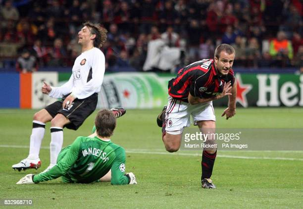 AC Milan's Alberto Gilardino celebrates scoring against Manchester United during the UEFA Champions League SemiFinal second leg match at San Siro...