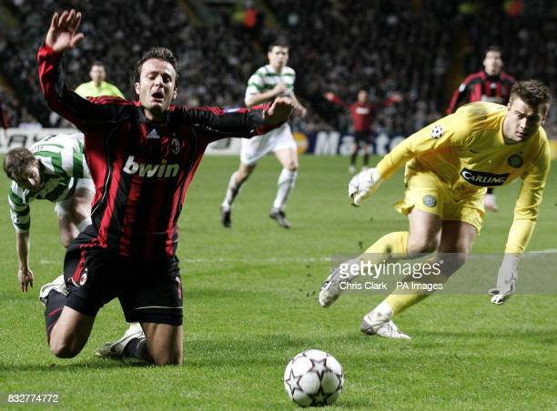 AC Milan's Alberto Gilardino dives into the Celtic penalty area and was booked during the Champions League first knockout round first leg match at...
