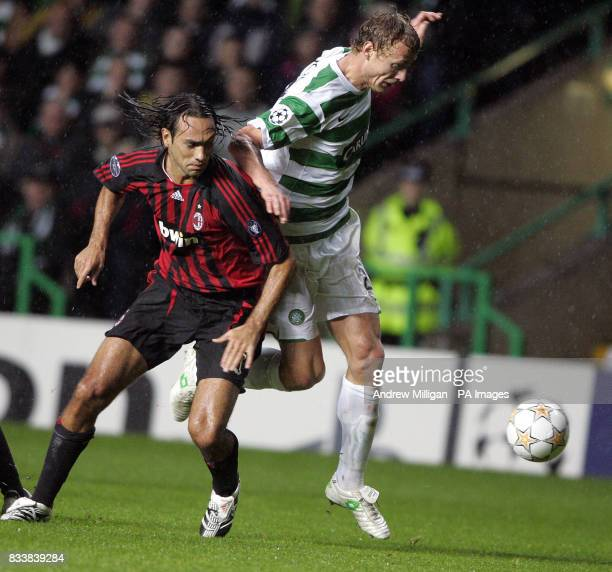 AC Milan's Alessandro Nesta and Celtic's Jiri Jarosik battle for the ball