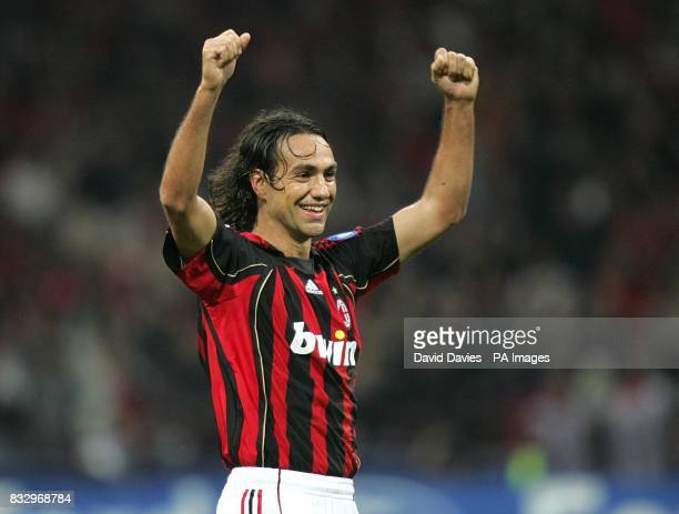 AC Milan's Alessandro Nesta celebrates at the final whistle after reaching the UEFA Champions League Final