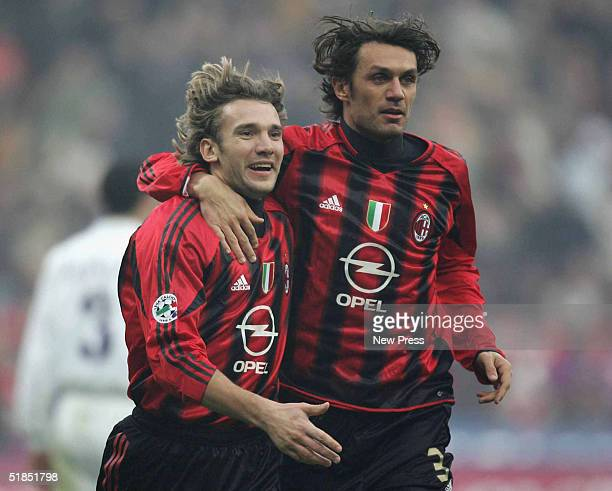 Milan's Andrei Schevchenko celebrating with team mate Paolo Maldini after scoring against Fiorentina during the Milan v Fiorentina Serie A match...