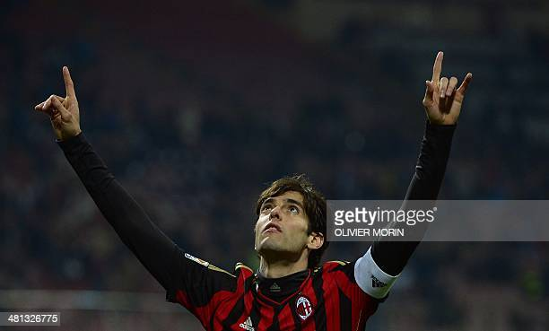 AC Milan's Brazilian forward Kaka celebrates after scoring during the Italian serie A football match AC Milan vs Chievo Verona on March 29 2014 in...
