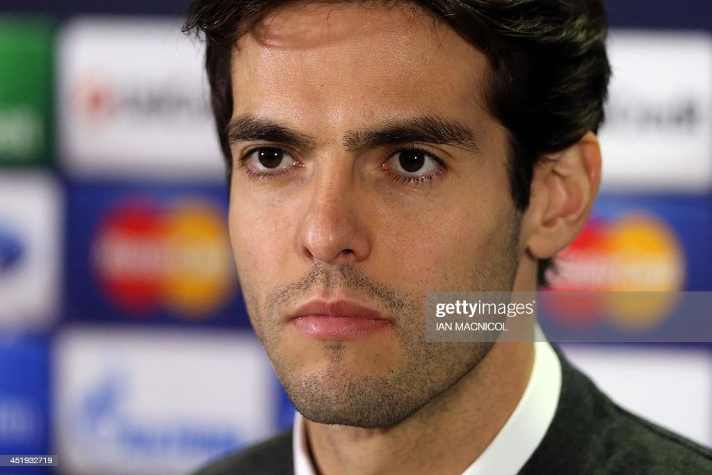 AC Milan's Brazilian forward Kaka speaks at a press conference at Celtic Park, Glasgow, Scotland, on November 25, 2013 ahead of their UEFA Champions League group H football match against Celtic on November 26.