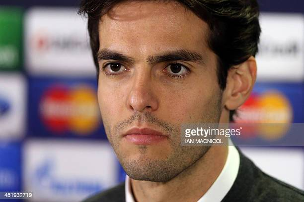 AC Milan's Brazilian forward Kaka speaks at a press conference at Celtic Park Glasgow Scotland on November 25 2013 ahead of their UEFA Champions...