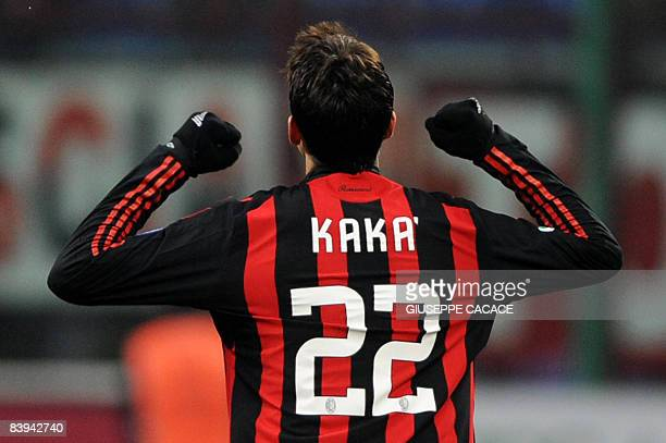 AC Milan's Brazilian midfielder Kaka celebrates after scoring a goal during a Serie A football match against Catania at San Siro Stadium in Milan on...