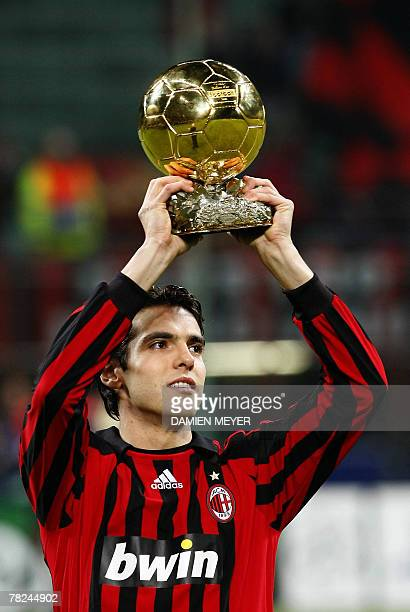 AC Milan's Brazilian midfielder Kaka hold his Bollon d'Or trophy before the UEFA Champions League Group D qualification match between AC Milan and...