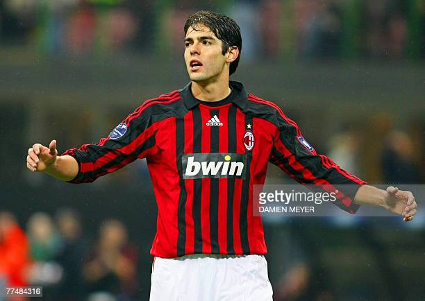 AC Milan's Brazilian midfielder Kaka reacts 24 October 2007 during his UEFA Champions League Group D football match between AC Milan and Shakthar at...