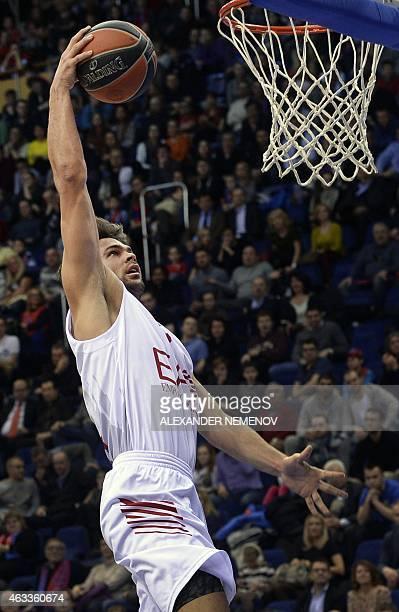 Milan's Bruno Cerella jumps during the Euroleague Top 16 group F basketball match CSKA Moscow vs Ea7 Emporio Armani Milan in Moscow on February 13...