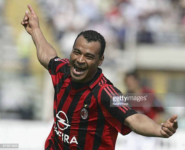 Milan's Cafu celebrates a goal during the Serie A match between Parma and AC Milan at the Ennio Tardini stadium May 7 2006 in Parma Italy