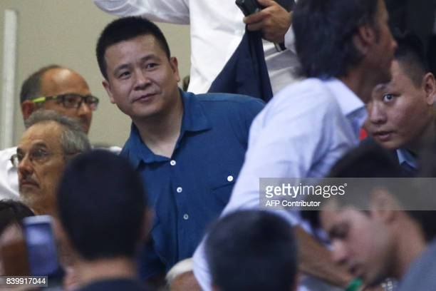 AC Milan's chairman Yonghong Li attends the Italian Serie A football match AC Milan Vs Cagliari on August 27 2017 at the 'Giuseppe Meazza' Stadium in...