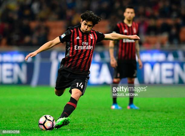 AC Milan's Chilian midfielder Mati Fernandez kicks the ball during the Italian Serie A football match AC Milan versus Genoa on March 18 2017 at the...