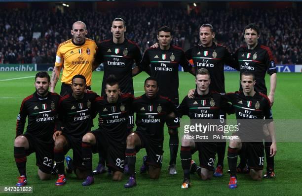 AC Milan's Christian Abbiati Zlatan Ibrahimovic Thiago Silva Philippe Mexes Mark Van Bommel Antonio Nocerino Urby Emanuelson Stephen El Shaarawy...