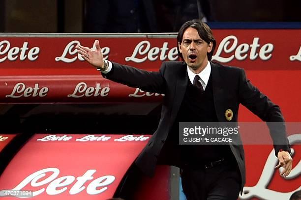 AC Milan's coach Filippo Inzaghi gestures during the Italian Serie A football match Inter Milan vs AC Milan at the San Siro Stadium in Milan on April...