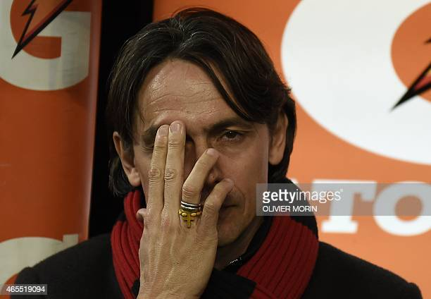 AC Milan's coach Filippo Inzaghi is pictured before the Italian Serie A football match AC Milan vs Hellas Verona on March 7 2015 at the San Siro...
