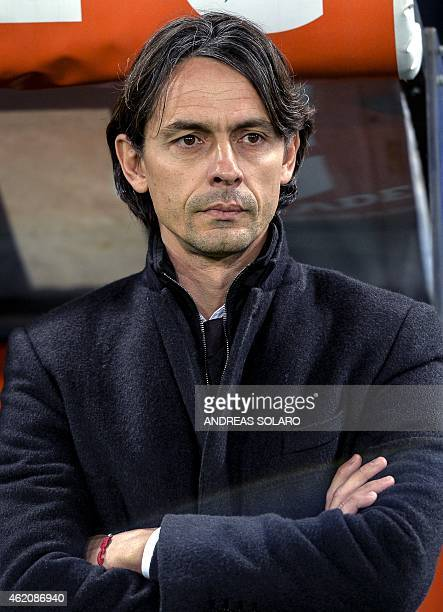 AC Milan's coach Filippo Inzaghi looks on before the Italian Serie A football match Lazio vs AC Milan at Rome's Olympic stadium on January 24 2015...
