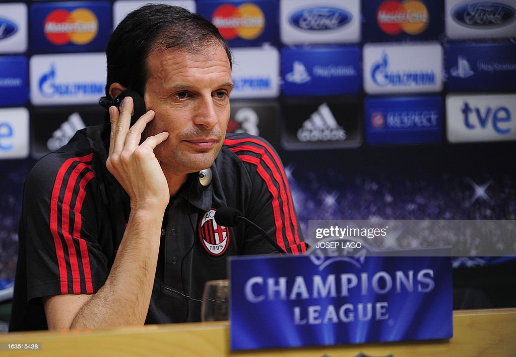 AC Milan's coach Massimiliano Allegri gives a press conference at the Camp Nou stadium in Barcelona on March 11, 2013, on the eve of the UEFA Champions League football match FC Barcelona vs AC Milan.