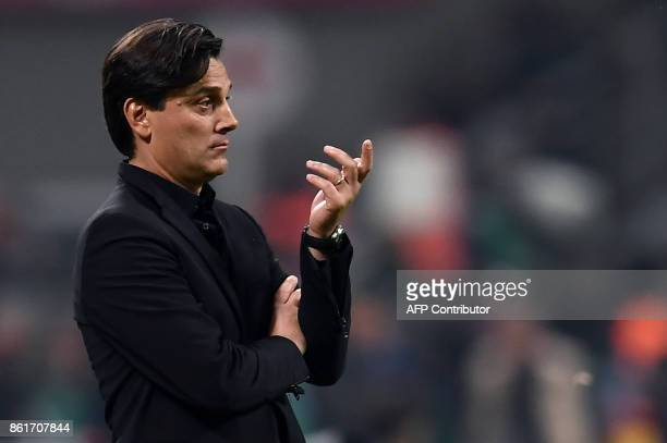 AC Milan's coach Vincenzo Montella from Italy looks on during the Italian Serie A football match Inter Milan Vs AC Milan on October 15 2017 at the...