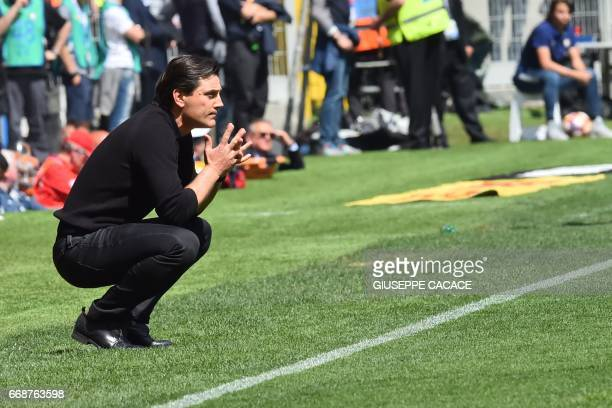 AC Milan's coach Vincenzo Montella looks on during the Italian Serie A football match Inter Milan vs AC Milan at the San Siro stadium in Milan on...