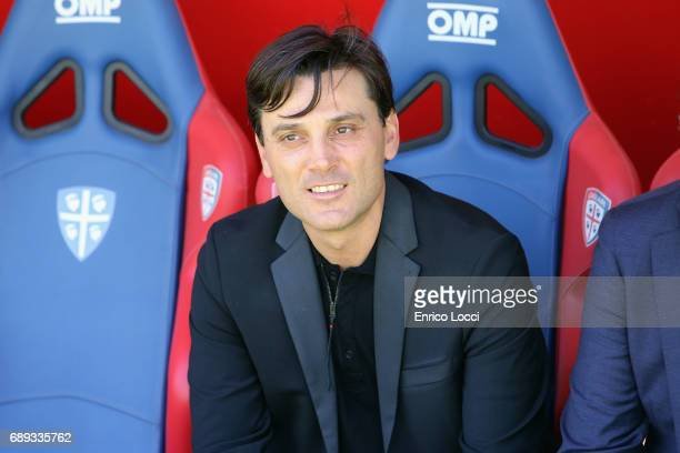 Milan's coach Vincenzo Montella looks on during the Serie A match between Cagliari Calcio and AC Milan at Stadio Sant'Elia on May 28 2017 in Cagliari...